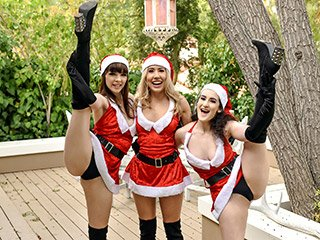Paisley Bennett, Lyra Lockhart and Aliya Brynn Jingle Bell Cock
